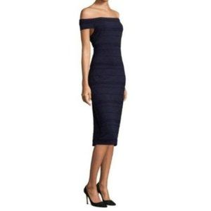 Ted Baker Navy Inan Bardot Stripe Bodycon Dress